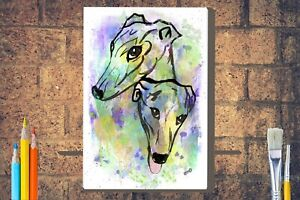 Greyhounds-Art-Box-Canvas-A4-A3-A2-A1-Birthday-Christmas-Mothers-Day-Gift