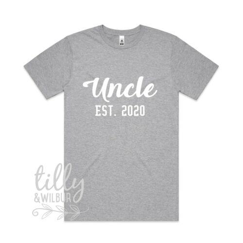 Uncle Est 2020 Men/'s T-Shirt Uncle Gift Personalised Pregnancy Announcement