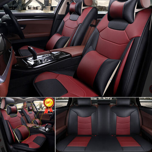 Car 5-Seat Mircrofiber Leather Seat Cover Burgundy Front+Rear+4 Pillows Full Set