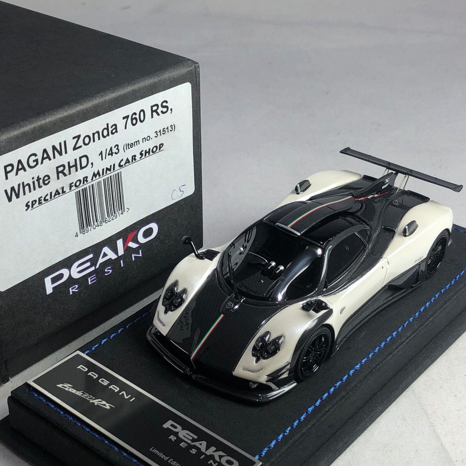 1/43 Peako Pagani Zonda 760RS Pearl White / Carbon RHD Ltd 20 pcs
