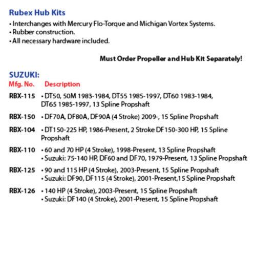 Suzuki DF90 DF115 2003-Up DF90 DF115 2001-Up Solas Rubex Prop Hub RBX-125 MD