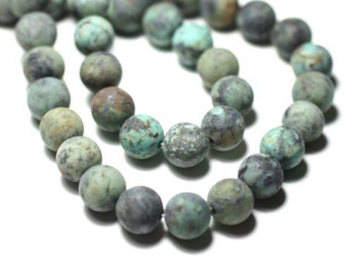 Turquoise d/'Afrique Boules 8mm Mat Sablé Fil 39cm 46pc env Perles de Pierre