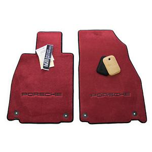 USA Made Bordeaux Red PORSCHE 718 Cayman Floor Mats Porsche Embroidery