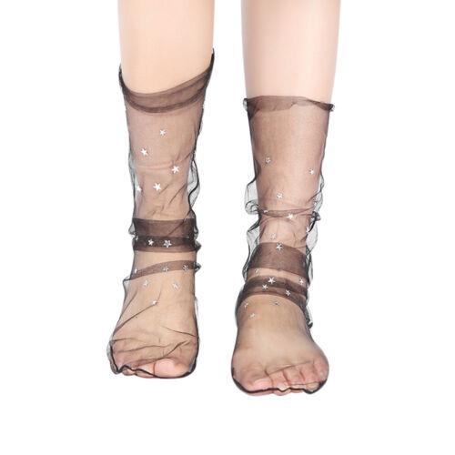 Women Fashion Glitter Star Soft Mesh Sock Transparent Elastic Sheer Ankle Socks