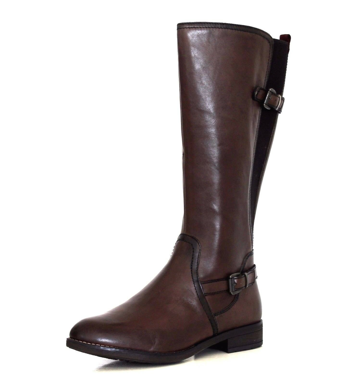 Tamaris Women's UK 4 to 5.5 Cigar Brown Leather Zip Up Biker Style New Boots