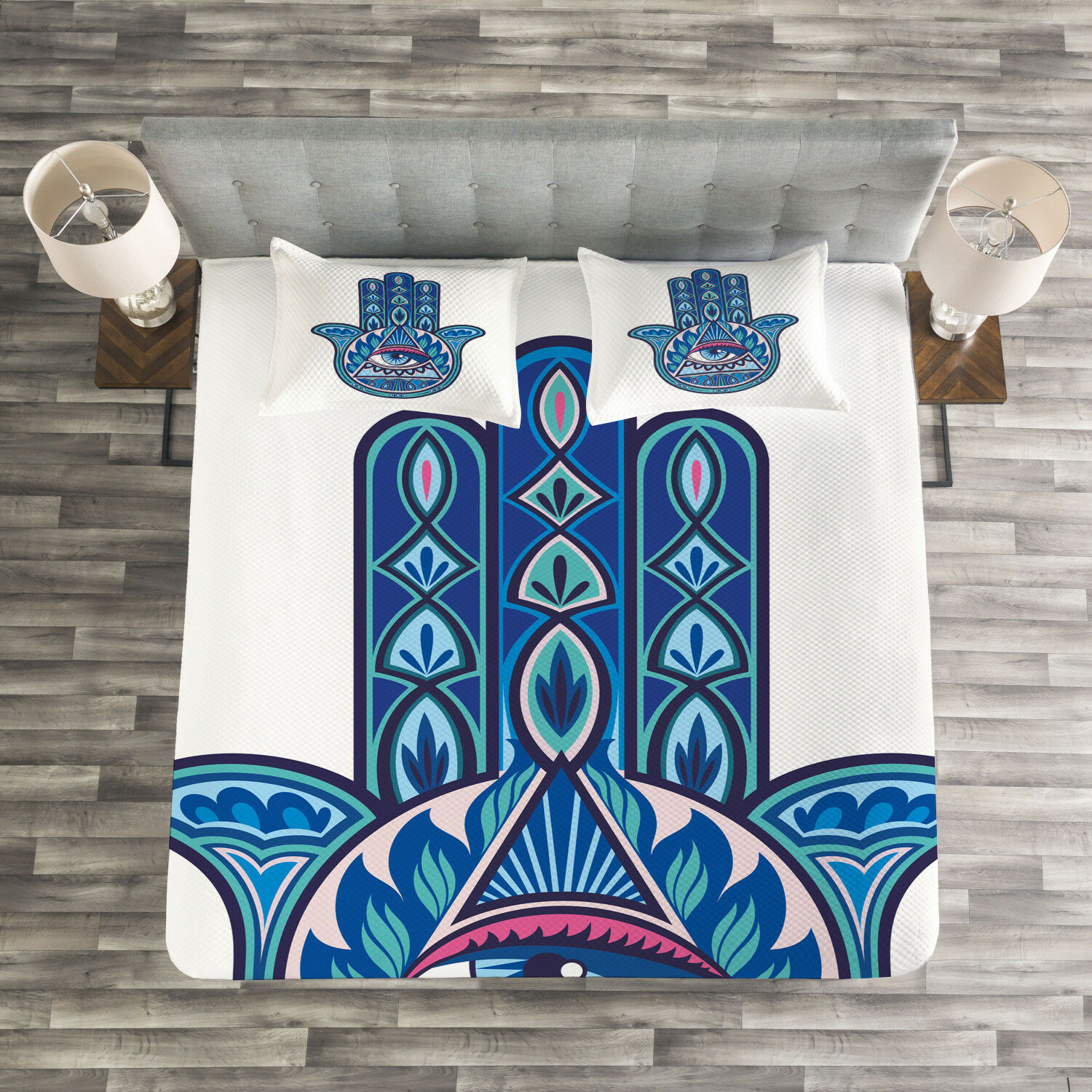 Evil Eye Quilted Bedspread & Pillow Shams Set, Vibrant Hamsa Triangle Print