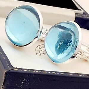 Vintage-1970s-Aqua-Blue-Glass-Cabochon-Large-Round-Silvertone-Cufflinks