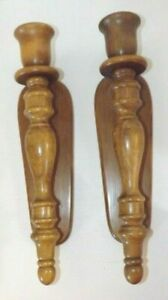 """Vintage Wood Taper Candle Wall Sconces Mid Century Modern Wooden 15.5"""" High"""