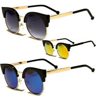 Womens Retro Vintage  Black Metal Half Frame Cat Eye Sunglasses Revo Shades m