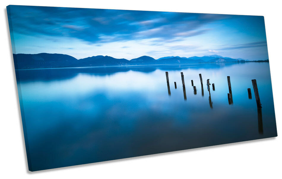 Wooden Pier Jetty Lake Sunset PANORAMIC CANVAS WALL ART ART ART Print Picture 2bb07d