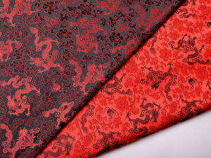 CHINESE-DRAGON-amp-PEONY-1-2-YD-28-034-SILK-STAIN-DAMASK-JACQUARD-BROCADE-FABRIC