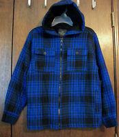 Boys Hoodie Coat Sz S 6-7 Faded Glory Blue & Black Plaid W/black Faux Fur