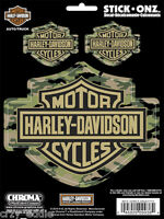 Harley Davidson Three Camouflage Bar And Shield Decal Sheet Of 3 Camo Decals