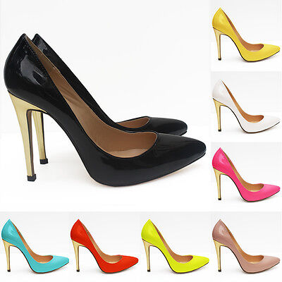 LADIES SUPER HIGH HEEL POINTED CORSET STYLE WORK PUMPS COURT SHOES PATENT UK 2-9