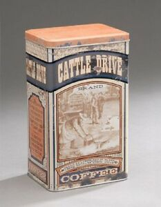 Vintage-Style-Food-Safe-Cattle-Drive-COFFEE-Tin-Canister-Container-Can