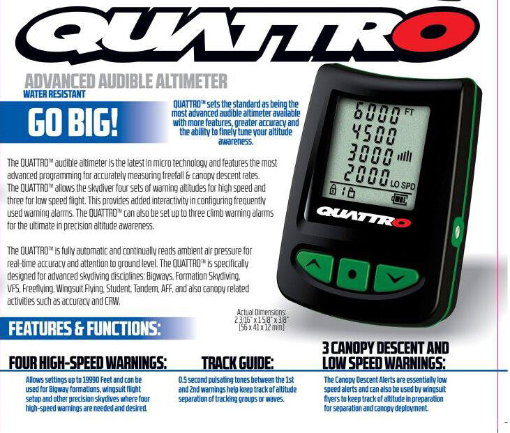 New L&B Quattro Parachute Skydiving Electronic Digital Audible Altimeter