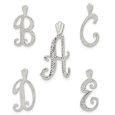 925 Sterling Silver Polished Chain Slide Initial N Charm Pendant