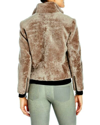 Belle Fare Real Shearling Women/'s Motorcycle Jacket Taupe NWT MSRP $1215