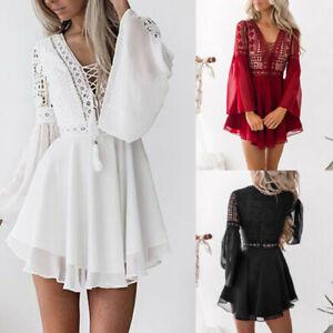 Women-039-s-Lace-Long-Sleeve-Bodycon-Cocktail-Party-Pencil-Dress-Bandage-Dresses