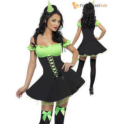 Ladies Sexy Witch Costume + Hat Fever Tutu Halloween Fancy Dress Adult Womens