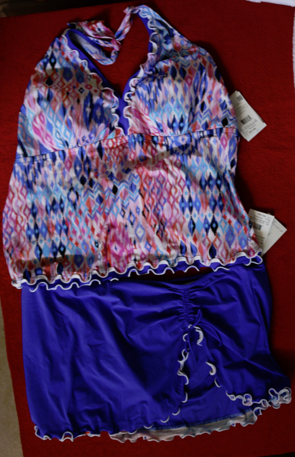 Profile Skirted Halter Tankini Set Size 24W with Skirted Btms
