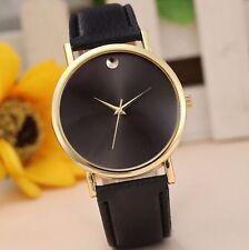 New Luxury Gold Stainless Black Leather Men Women Dress Fashion Quartz Watch