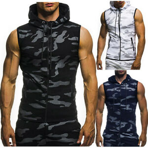 Men-039-s-Summer-Casual-Camouflage-Print-Hooded-Sleeveless-T-shirt-Top-Vest-Blouse