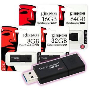 PENDRIVE KINGSTON DT100G3 8 16 32 64 128 PENNETTA USB 3.0 MEMORIA CHIAVETTA