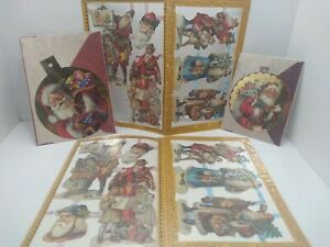 Vintage-1987-Mamelok-Press-Victorian-Santa-Christmas-Die-Cuts-Cards-England