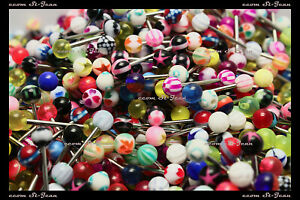 20 Pcs Tongue Rings Piercing Body Jewelry Ebay
