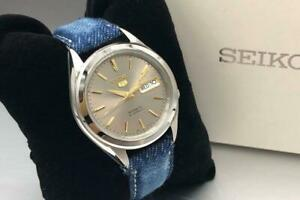 Seiko-5-Stainless-Steel-Day-Date-Automatic-Mens-Watch-Authentic-Working