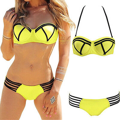 Damen Push Up Bikini Set Bademode Swimwear Swimsuit Bikiniset Badeanzug M-XL