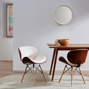 Incredible Details About Mid Century Modern Upholstered Leather Walnut Finish Dining Accent Chair White Ibusinesslaw Wood Chair Design Ideas Ibusinesslaworg