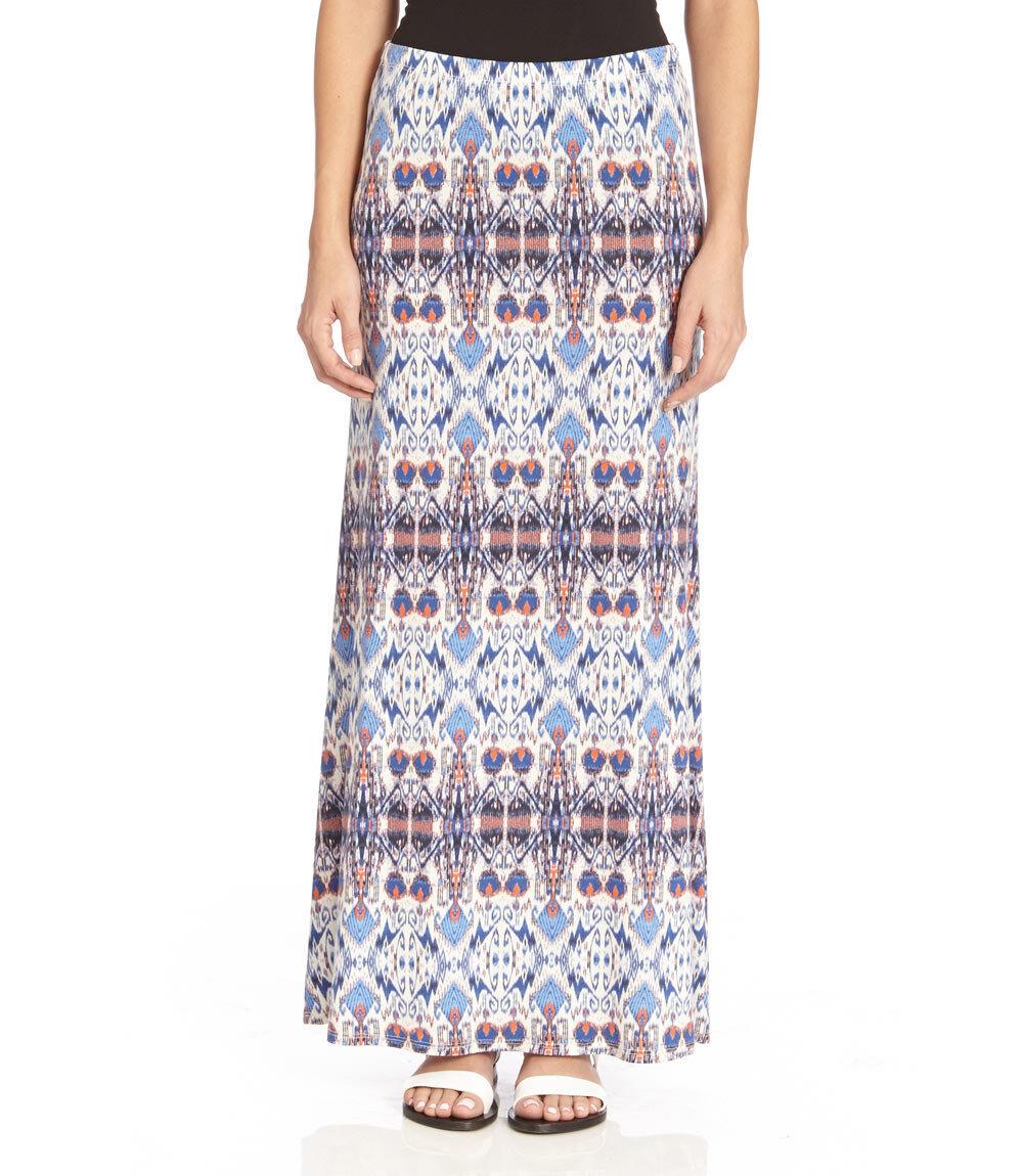 Karen Kane 2L29557 Light bluee-Multi Tropicali Stretch Jersey Maxi Skirt -