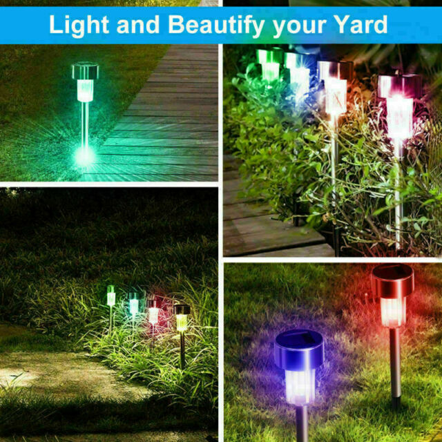 10 PCS Outdoor Stainless Steel Solar Power Lawn Garden Landscape Path LED Lights