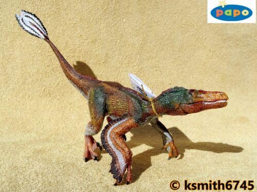NUOVO * Papo Velociraptor piumato plastica solida giocattolo dinosauri animali RAPTOR