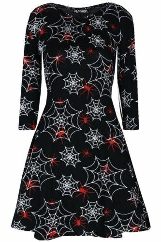 Femmes Halloween manches longues Vampire Morsure crâne chat Swing Femmes Blouse Mini Robe