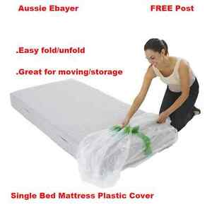 Single Size Bed Mattress Protector Plastic Protection Cover Moving