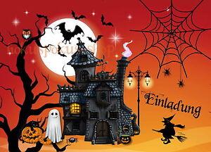 Das Bild Wird Geladen 8 Einladungskarten Halloween Geburtstag Kinder  Halloweenparty Party Einladungen