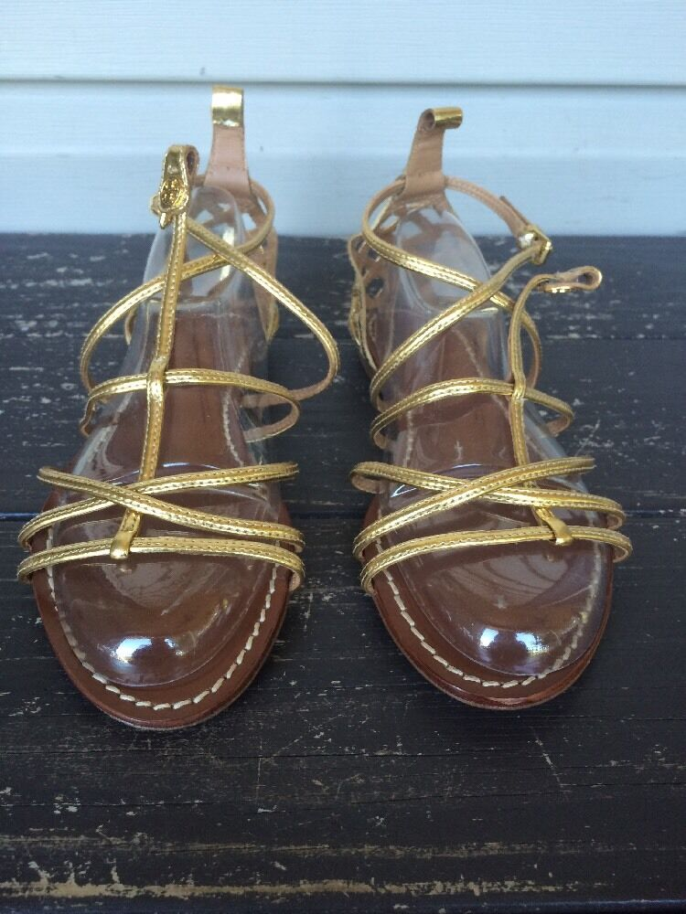 TORY BURCH BURCH BURCH donna BROOKE FLAT GLADIATOR SANDALS METALLIC oro SZ 6.5 NEW   295 a6a3c7