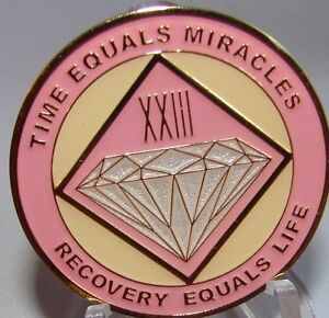 Alcoholics Anonymous AA NA PINK 23 Year Medallion Recovery Token Chip sober