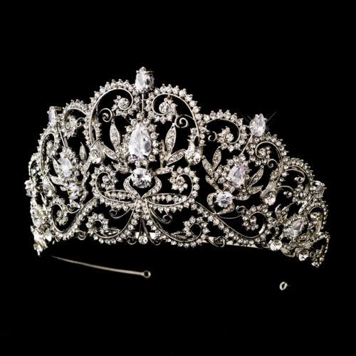 Antique Silver Royal Princess CZ Crystal Bridal Wedding Tiara Crown CLOSEOUT