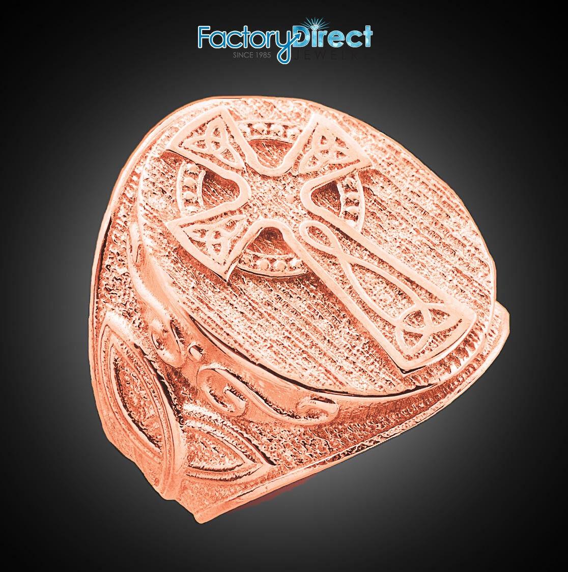 10k 14k Men's pink gold Celtic Cross Trinity Knot Ring Ancient Irish