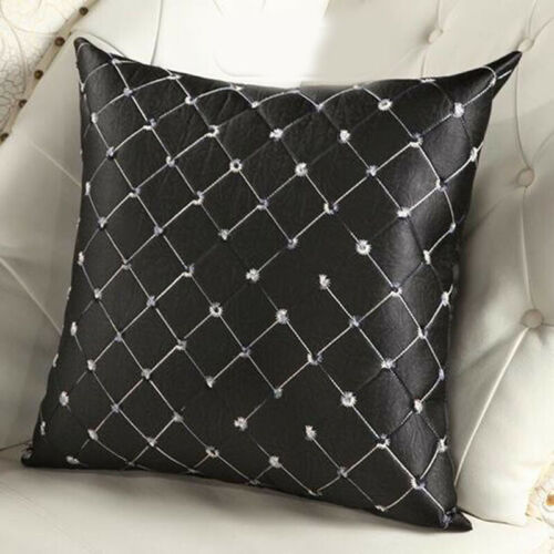 43*43CM Home Sofa Cushion Solid Plaid Embroidered Throw Home Pillow Grid Cover #