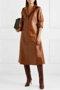 Women Leather Dress Long Sleeve Front Button Lambskin Leather  Shirt Dress
