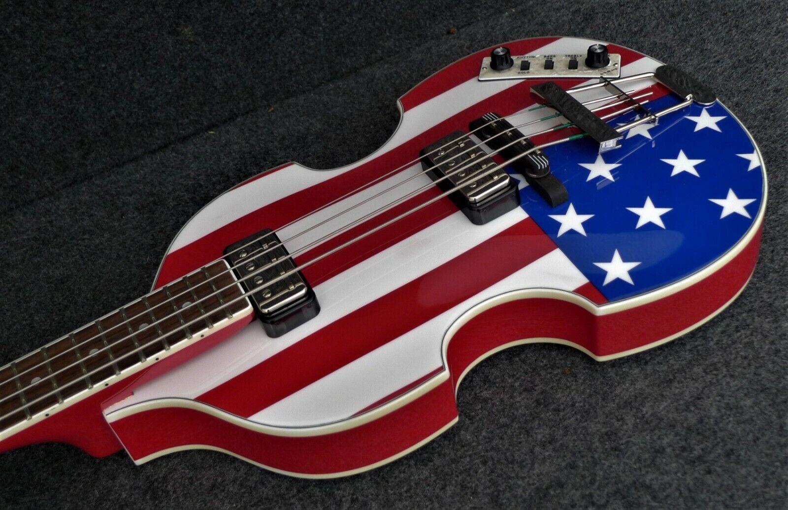 Hofner HCT 500 1-USA Contemporary BEATLE BASS GUITAR AMERICAN FLAG MODEL New