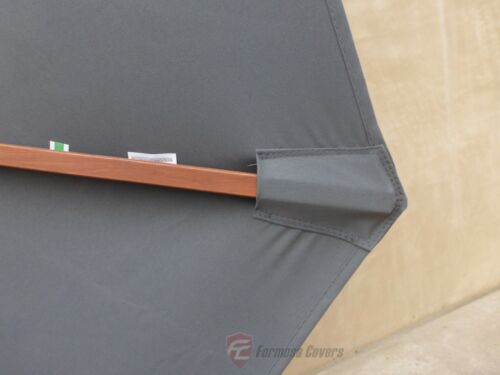 9ft Patio Outdoor Yard Umbrella Replacement Canopy Cover Top 8 Ribs Grey