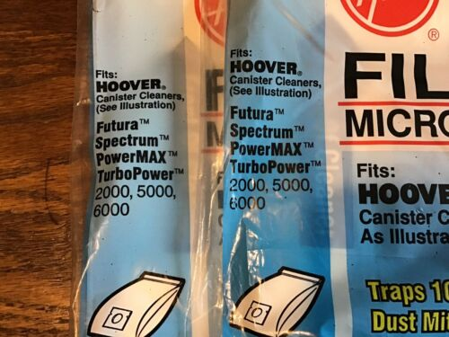 6 Genuine Hoover Type S Vacuum Bags 4010100S Canister Filter Allergen Filtration