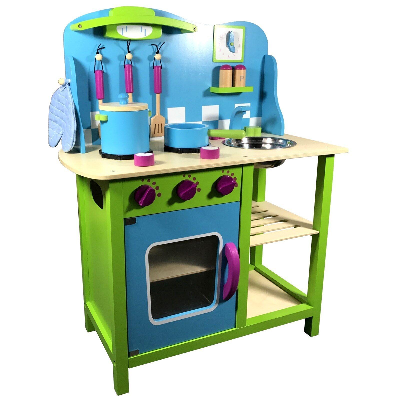 Kinderküche Holz Kinderspielküche Spielzeugküche Holzküche Küche blau grün