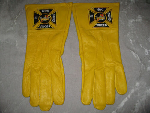 York Rites Yellow Leather Gloves Masonic Ceremony Logo Crown Cross NEW!